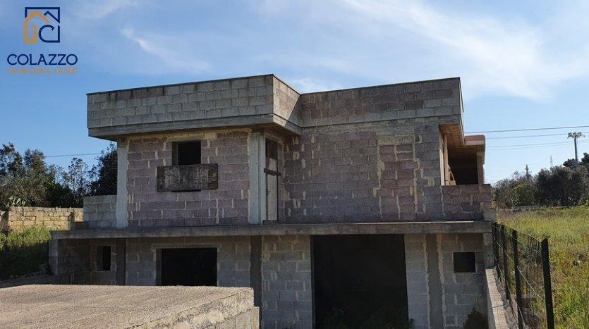 Prospetto retro 2 Villetta allo stato Rustico Contrada Monticelli